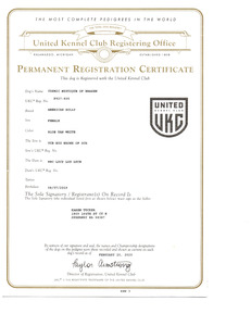 Mysti UKC Registration 1